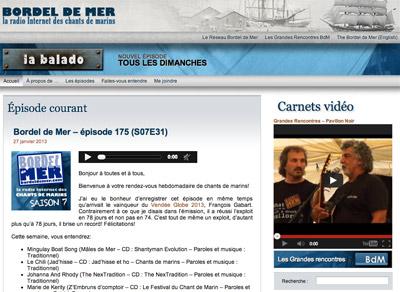 Bordel de Mer, la radio Internet des chants de marins - produit par Jean-François Blais