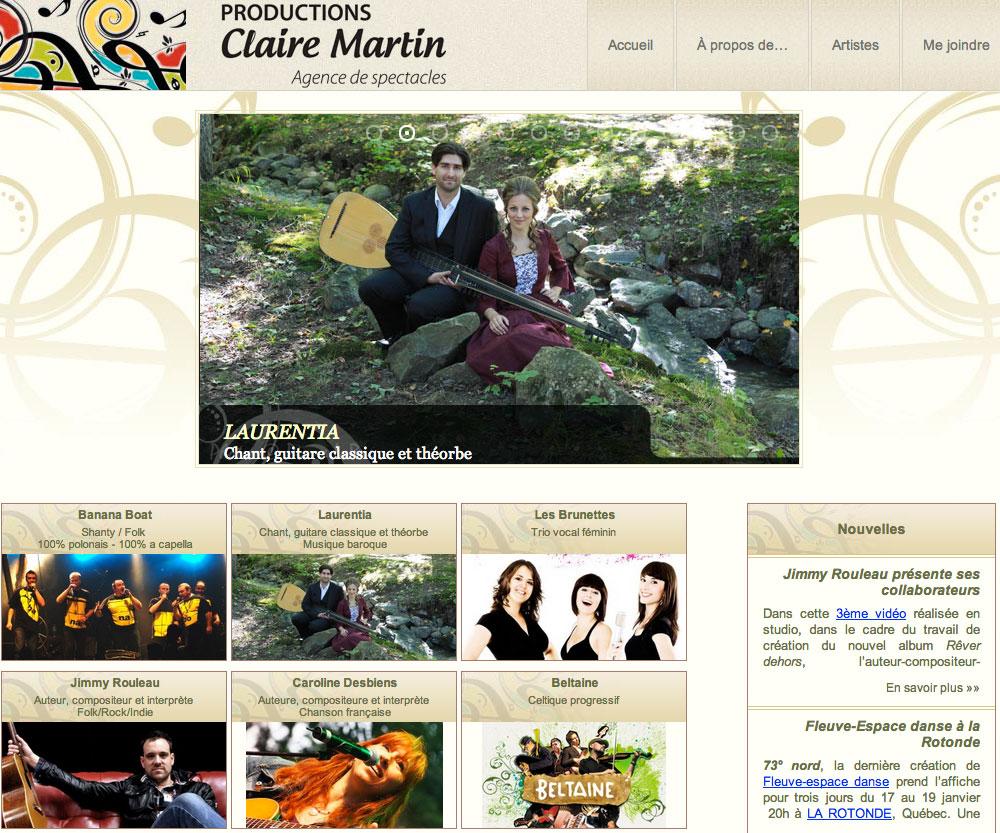 Site Web de Claire Martin, agente de spectacles, réalisé par Jean-François Blais