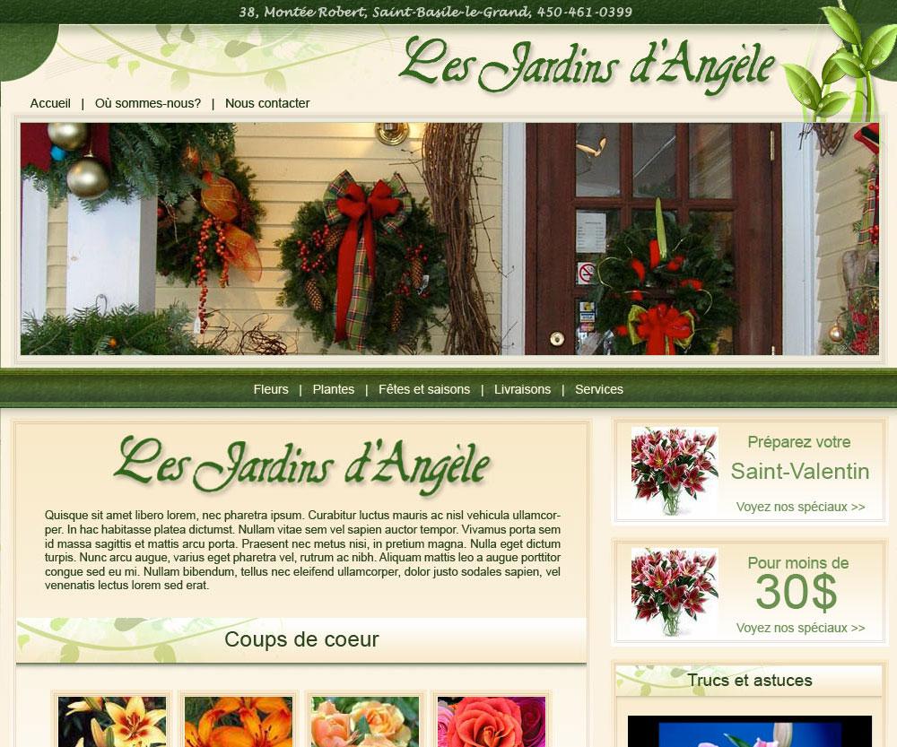 Site Internet des Jardins d'Angèle réalisé par Jean-François Blais