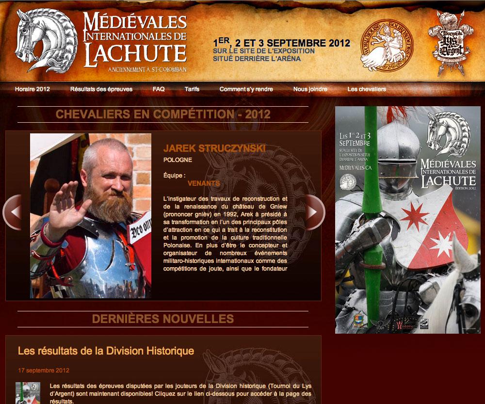 Site web des Médiévales Internationales de Lachute - réalisé par Jean-François Blais