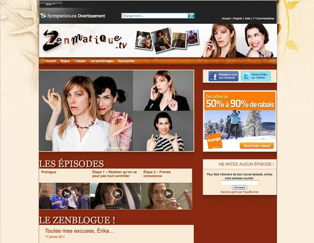 Site Web de la websérie Zenmatique - réalisé par Jean-François Blais